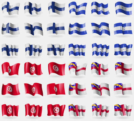 Finland, Honduras, Tunisia, Herm. Set of 36 flags of the countries of the world. illustration