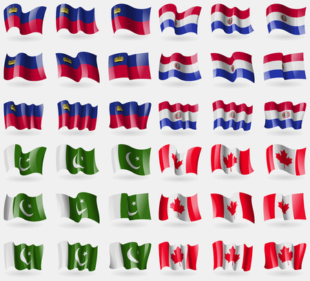Liechtenstein, Paraguay, Pakistan, Canada. Set of 36 flags of the countries of the world. illustration
