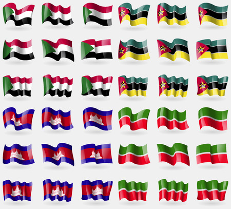 Sudan, Mozambique, Cambodia, Tatarstan. Set of 36 flags of the countries of the world. illustration