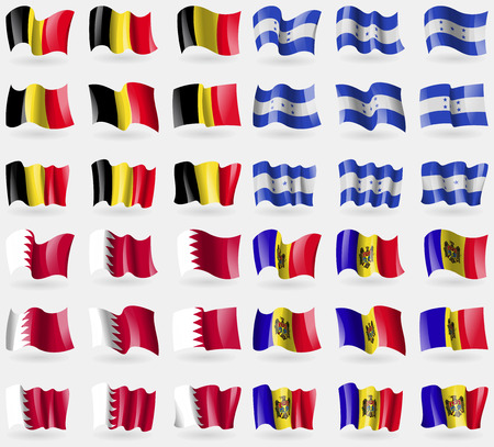 Belgium, Honduras, Bahrain, Moldova. Set of 36 flags of the countries of the world. illustration