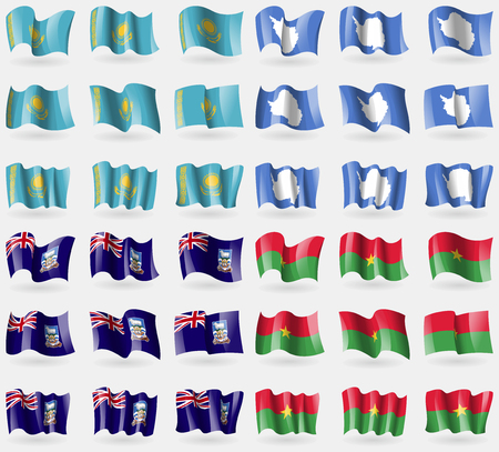 Kazakhstan, Antarctica, Falkland Islands, Burkia Faso. Set of 36 flags of the countries of the world. illustration