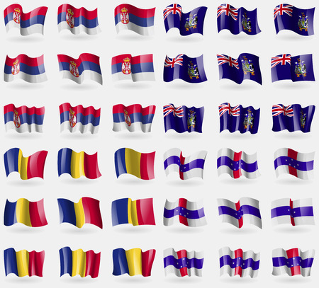 Serbia, Georgia and Sandwich, Romania, Netherlands Antilles. Set of 36 flags of the countries of the world. illustration