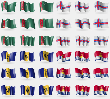 Turkmenistan, Faroe Islands, Barbados, Kiribati. Set of 36 flags of the countries of the world. illustration