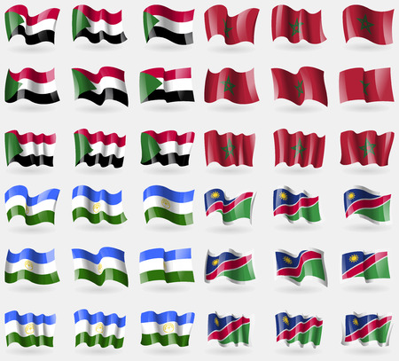 Sudan, Morocco, Bashkortostan, Namibia. Set of 36 flags of the countries of the world. illustration