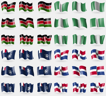 Kenya, Nigeria, French and Antarctic, Dominican Republic. Set of 36 flags of the countries of the world. illustration