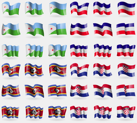 Djibouti, Los Altos, Swaziland, Croatia. Set of 36 flags of the countries of the world. illustration