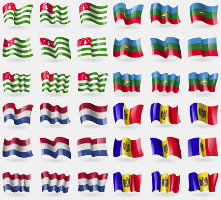 Abkhazia, KarachayCherkessia, Netherlands, Moldova. Set of 36 flags of the countries of the world. illustration