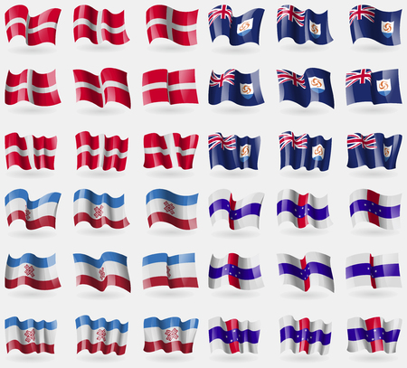 Military Order Malta, Anguilla, Mari El, Netherlands Antilles. Set of 36 flags of the countries of the world. illustration
