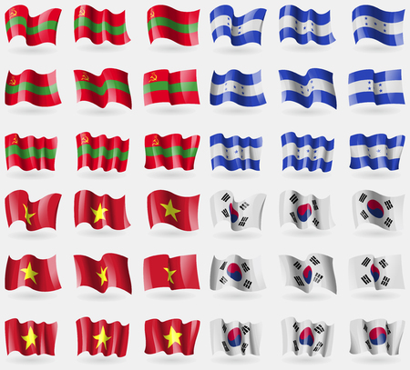Transnistria, Honduras, Vietnam, Korea South. Set of 36 flags of the countries of the world. illustration