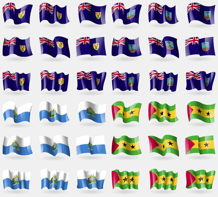 Turks and Caicos, Montserrat, San Marino, Sao Tome and Principe. Set of 36 flags of the countries of the world. illustration