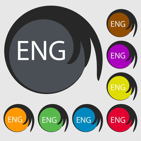 English sign icon. Great Britain symbol. Symbols on eight colored buttons. illustration