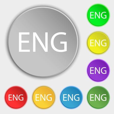 English sign icon. Great Britain symbol. Symbols on eight flat buttons. illustration