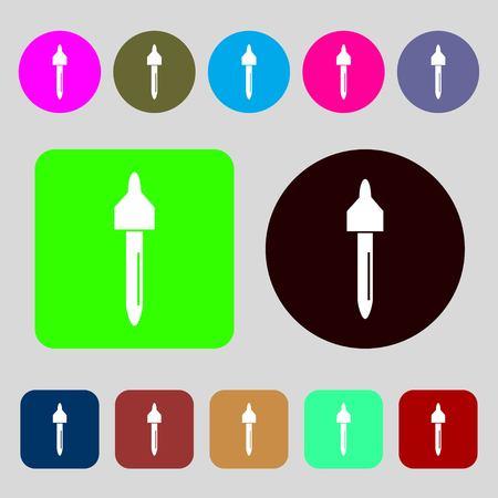 dropper sign icon. pipette symbol.12 colored buttons. Flat design. illustration