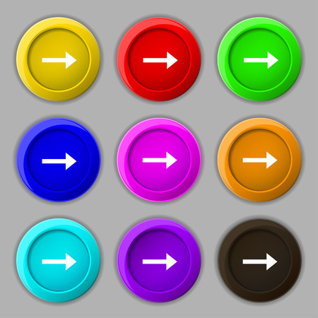 Arrow right, Next icon sign. symbol on nine round colourful buttons. illustration