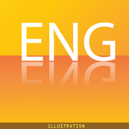 English icon symbol Flat modern web design with reflection and space for your text. illustration. Raster version