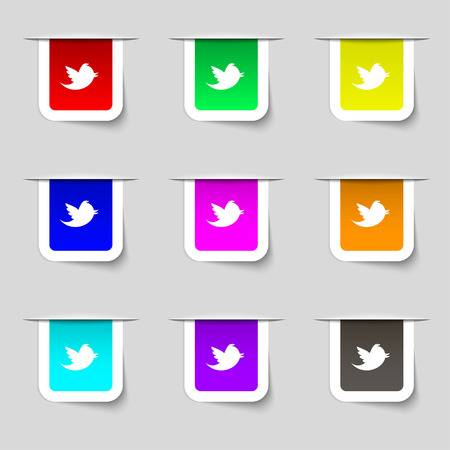 Social media, messages twitter retweet icon sign. Set of multicolored modern labels for your design. illustration