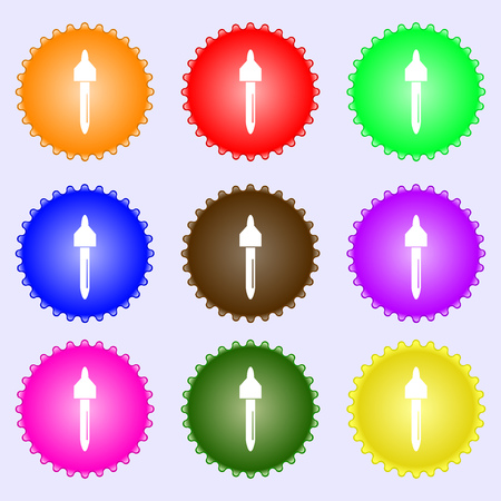 dropper sign icon. pipette symbol. A set of nine different colored labels. illustration