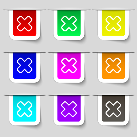 Cancel icon sign. Set of multicolored modern labels for your design. illustration