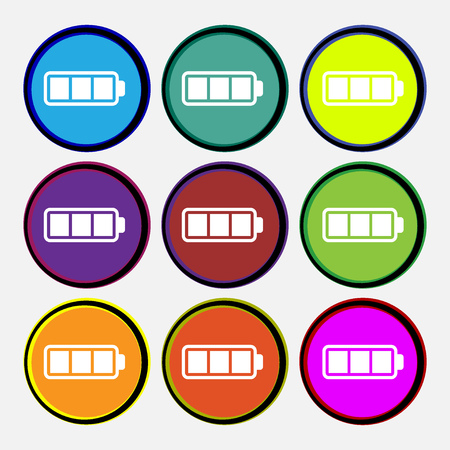 Battery fully charged icon sign. Nine multi colored round buttons. Vector illustration