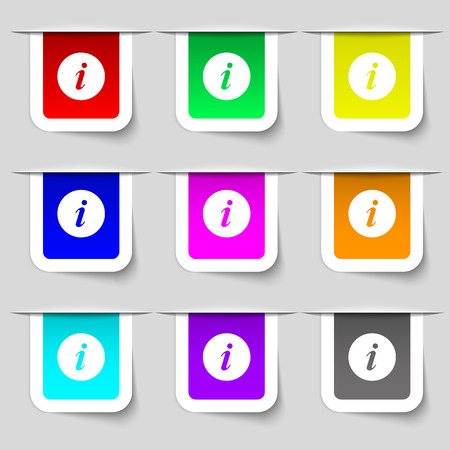 info icon sign. Set of multicolored modern labels for your design. Vector illustration
