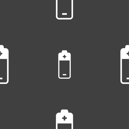 battery icon sign. Seamless pattern on a gray background. Vector illustration