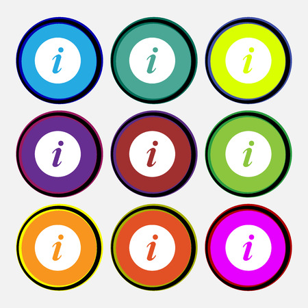 info icon sign. Nine multi colored round buttons. Vector illustration