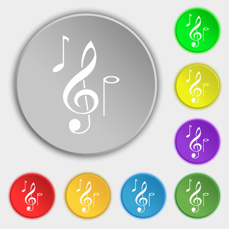musical notes icon sign. Symbol on eight flat buttons. Vector illustration