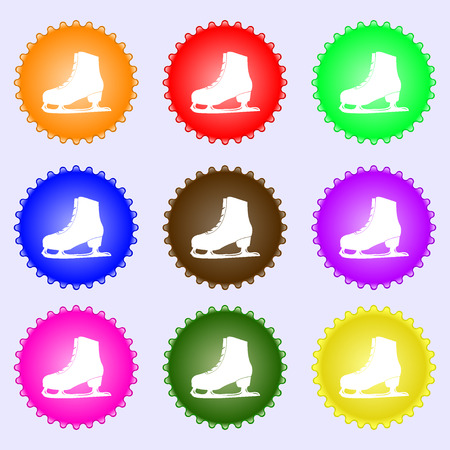 Ice skate icon sign. Big set of colorful, diverse, high-quality buttons. Vector illustration