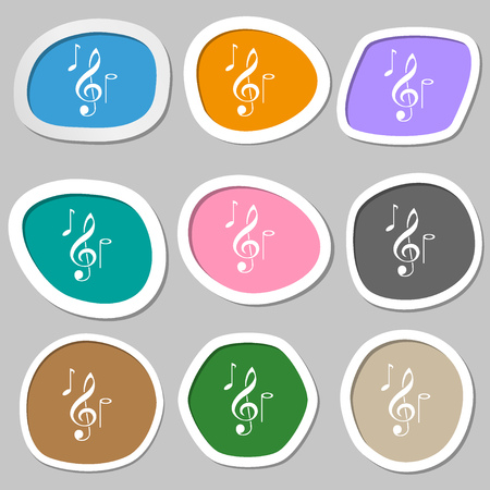 musical notes symbols. Multicolored paper stickers. Vector illustration