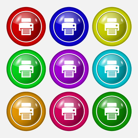 fax, printer icon sign. symbol on nine round colourful buttons. Vector illustration