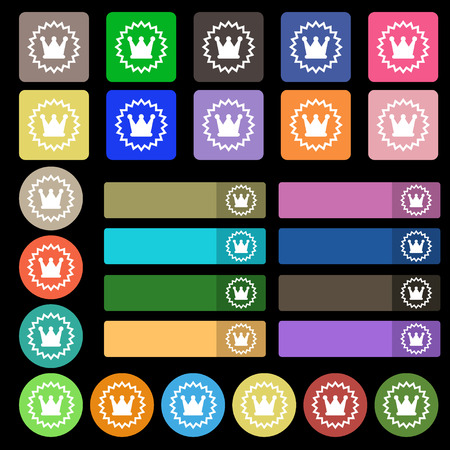 ?rown icon sign. Set from twenty seven multicolored flat buttons. Vector illustrationのイラスト素材