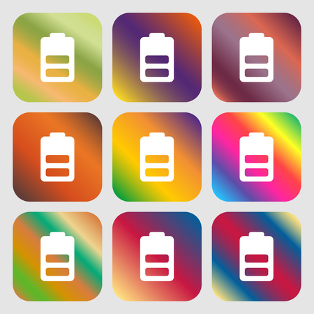 Battery half level, Low electricity icon. Nine buttons with bright gradients for beautiful design. Vector illustration