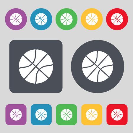 Ilustración de Basketball icon sign. A set of 12 colored buttons. Flat design. Vector illustration - Imagen libre de derechos