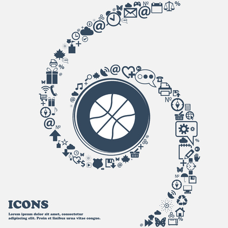 Ilustración de Basketball icon in the center. Around the many beautiful symbols twisted in a spiral. You can use each separately for your design. Vector illustration - Imagen libre de derechos
