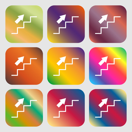 Stairs going up icon . Nine buttons with bright gradients for beautiful design. Vector illustration