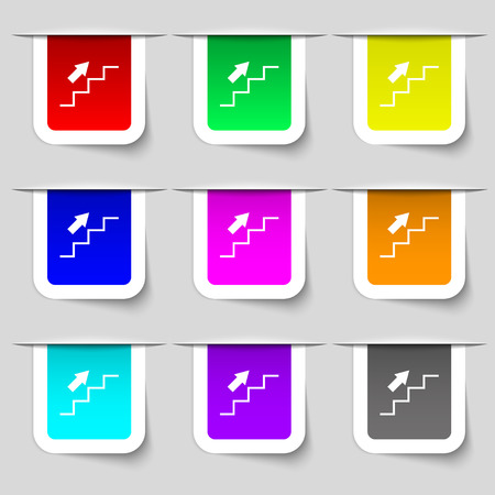 Stairs going up icon sign. Set of multicolored modern labels for your design. Vector illustration