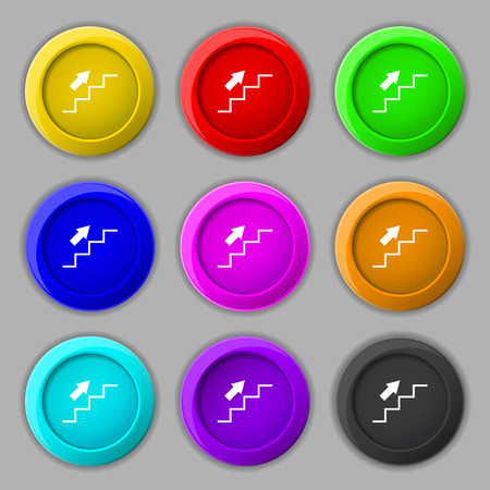 Stairs going up icon sign. symbol on nine round colourful buttons. Vector illustration