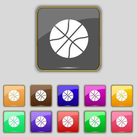 Ilustración de Basketball icon sign. Set with eleven colored buttons for your site. Vector illustration - Imagen libre de derechos