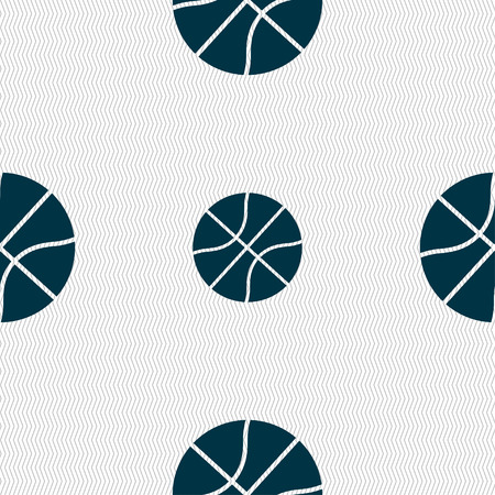 Ilustración de Basketball icon sign. Seamless pattern with geometric texture. Vector illustration - Imagen libre de derechos
