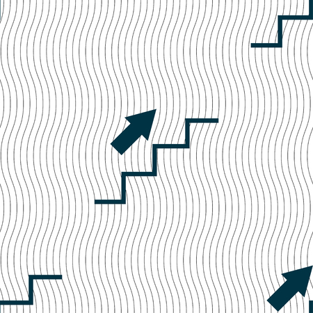 Stairs going up icon sign. Seamless pattern with geometric texture. Vector illustration