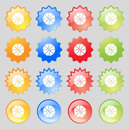 Ilustración de Basketball icon sign. Big set of 16 colorful modern buttons for your design. Vector illustration - Imagen libre de derechos