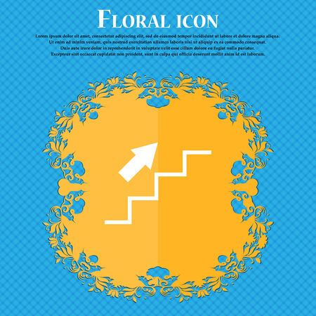 Stairs going up icon icon. Floral flat design on a blue abstract background with place for your text. Vector illustration