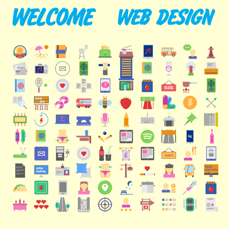 Universal set of social, technical, household icons isolated on background. Designed in a modern style - Material Design. Vector illustration
