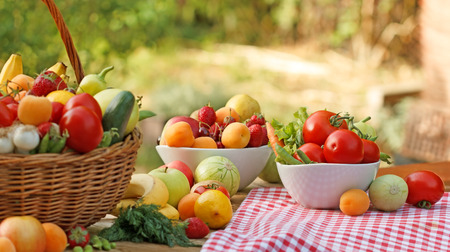 Foto für Table is full of various organic fruits and vegetables - Lizenzfreies Bild