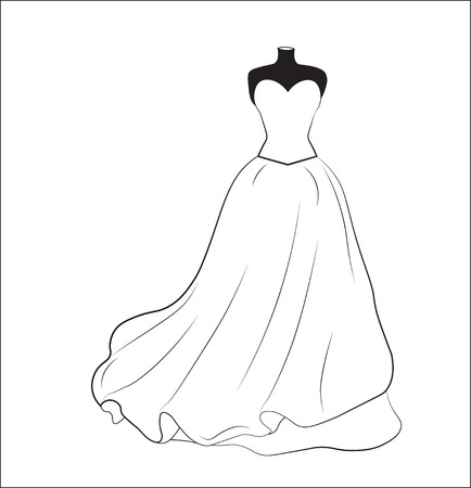 Photo pour sketch of a white wedding dress on a dummy, a silhouette - image libre de droit