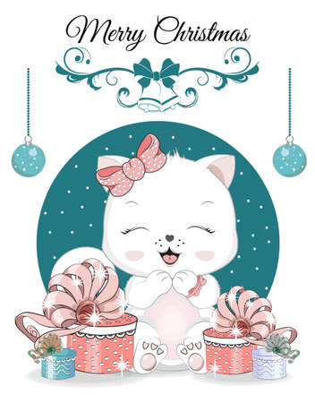 Illustration pour Happy New year. Merry Christmas cute white cat, kitten on ball. Picture in hand drawing cartoon style, for t-shirt wear fashion print design, greeting card, postcard. baby shower. party invitation. - image libre de droit