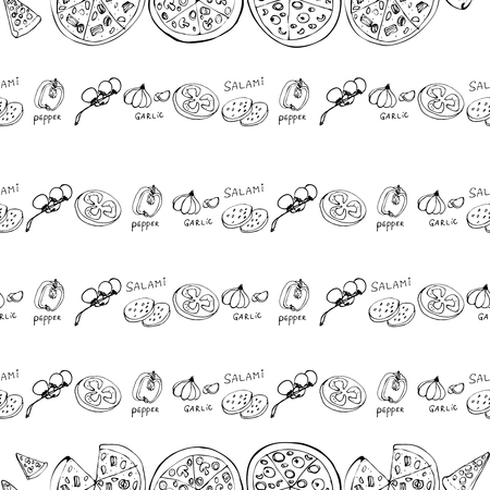 Illustration pour Seamless pattern with hand drawn pizza slices. Vector black and white food background. Monochrome design for fabric, wallpapers, wrapping paper, cards and web. Doodle art. Sketch cooking ingridients - image libre de droit