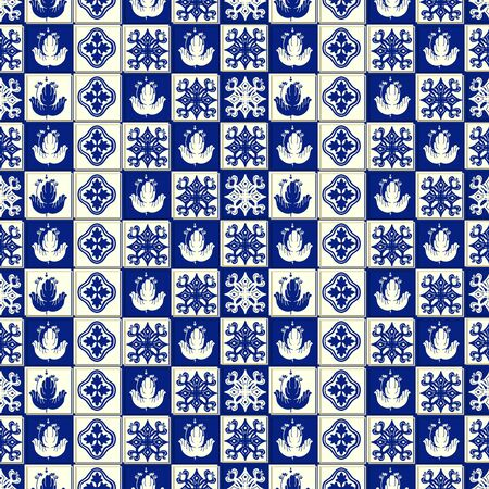 Illustration for Vector ceramic tile pattern, Lisbon floral mosaic, Mediterranean seamless navy blue ornament. Portuguese azulejo background - Royalty Free Image