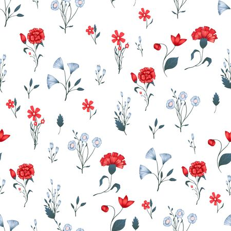 Illustration pour Seamless pattern Vector floral design with roses . Romantic background print for fabrics and wallpapers. - image libre de droit