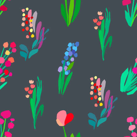 Illustration pour Seamless pattern with flowers, plant vector background. Abstract floral illustration. Textile print with wildflower. Spring fabriq design. - image libre de droit